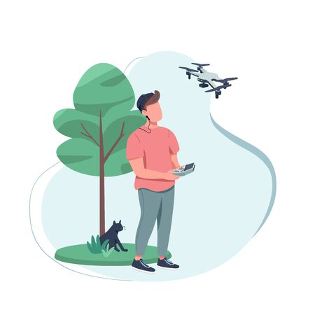 Content creator flat color vector faceless character. Shooting film with technology. Creative hobby. Video production with drone isolated cartoon illustration for web graphic design and animation