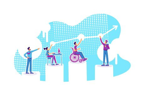 Inclusive education flat concept vector illustration. Distance classes. Pupils with special needs. Students and tutor 2D cartoon characters for web design. Group mentoring creative idea