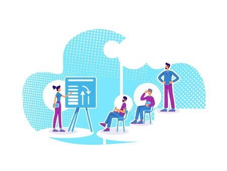 Business coaching flat concept vector illustration. Career mentor. Company personnel training. Students and teacher 2D cartoon characters for web design. Business school lesson creative idea