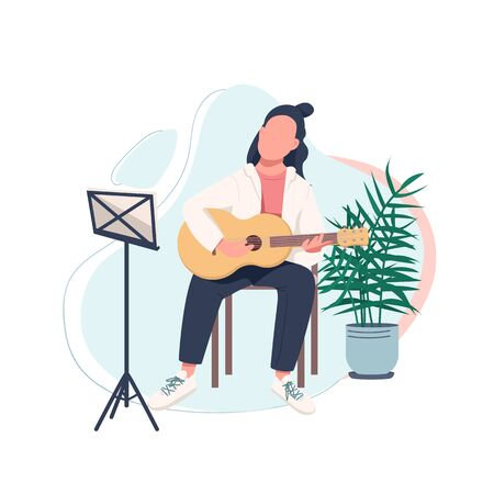 Young guitarist flat color vector faceless character. Acoustic guitar player. Learn to play musical instrument. Musician isolated cartoon illustration for web graphic design and animation Stock fotó - 150455206