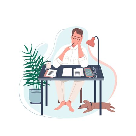 Freelance writer flat color vector faceless character. Man sit at desk. Male author write novel. Work at home. Creative hobby isolated cartoon illustration for web graphic design and animation