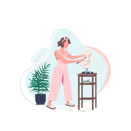 Female artist with sculpt flat color vector faceless character. Woman work in art studio. Carving marble with tools. Self expression isolated cartoon illustration for web graphic design and animation