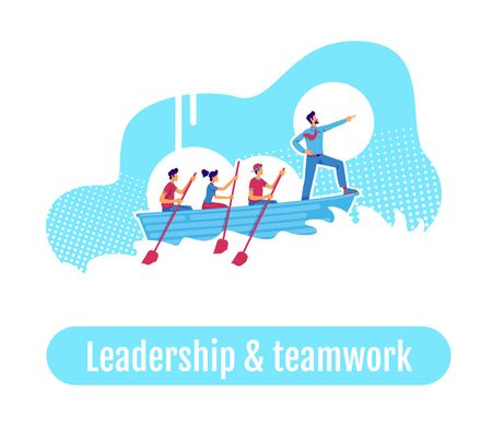 Team in sailing boat flat concept vector illustration. Leadership and teamwork phrase. Business mentoring 2D cartoon characters for web design. Company leader. Career coaching creative idea