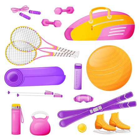 Female aerobics gear flat color vector objects set. Pink bag fo tennis racket. Fitness training. Skipping rope. Sports equipment 2D isolated cartoon illustrations on white background  イラスト・ベクター素材