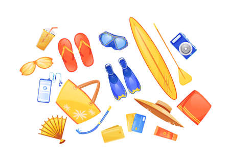 Summer beach essentials flat color vector objects set. Swimming fins. Surfing board. Travel equipment. Seaside journey checklist 2D isolated cartoon illustration on white background