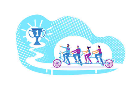 Teamwork flat concept vector illustration. Coworkers collective achievement. Team leader and coworkers riding tandem bicycle 2D cartoon characters for web design. Group mentoring creative idea