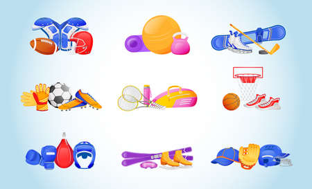 Sports equipment flat color vector objects set. Protective uniform for american football. Ball and kettlebell for fitness. Sport gear 2D isolated cartoon illustrations on gradient background Ilustrace