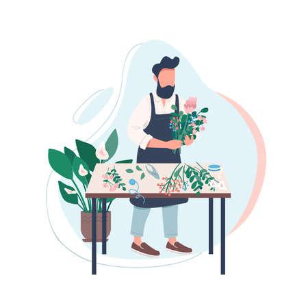 Professional florist flat color vector faceless character. Man arranging flowers. Male gardener. Creative hobby. Floristry workshop isolated cartoon illustration for web graphic design and animation Vektorgrafik