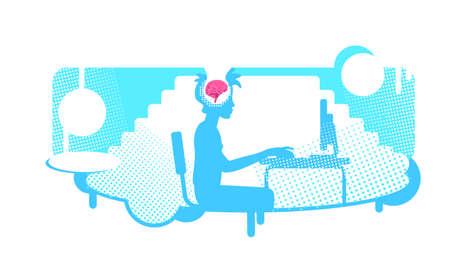 Educational process flat concept vector illustration. Schoolboy doing homework, studying online. 2D cartoon character for web design. Brain absorbs new information creative idea