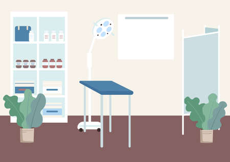Gynecologist cabinet flat color vector illustration. Table for health examination. Checkup equipment. Lamp for prenatal check. Clinic room 2D cartoon interior with hospital furniture on background
