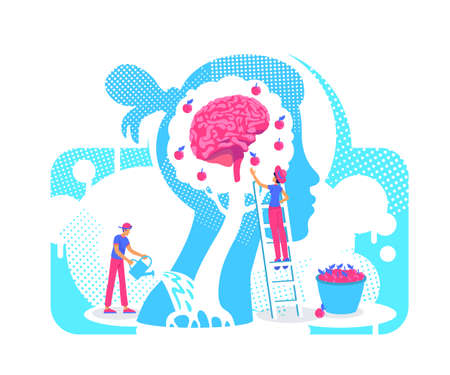 Acquiring experiences flat concept vector illustration. Growth personality knowledge tree 2D. cartoon characters for web design. Assimilation of new skills, values, beliefs creative idea