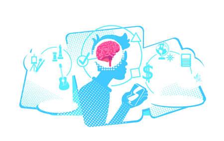 Human multitasking flat concept vector illustration. Addiction of smart mobile technologies. 2D cartoon characters for web design. Useful smartphone applications creative idea