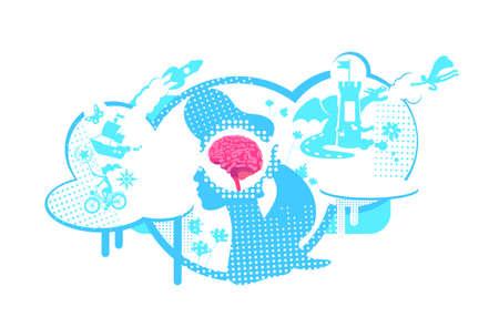 Visual development of thinking flat concept vector illustration. creative imagination, visualization, dreamy personality. 2D cartoon characters for web design. Children imagination creative idea  イラスト・ベクター素材