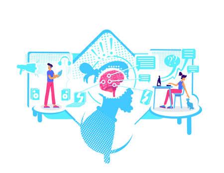 Impaired concentration flat concept vector illustration. Distraction to external stimuli, messages, video calls. 2D cartoon characters for web design. Procrastination problem creative idea