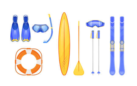 Summer and winter sports gear flat color vector objects set. Scuba diving. Skiing sticks. Life, ring buoy. Seasonal travel equipment. 2D isolated cartoon illustration on white background Ilustrace
