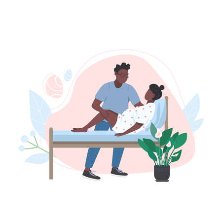 Young african family flat color vector faceless characters. Give birth at home. Husband coaching wife. Alternative childbirth isolated cartoon illustration for web graphic design and animation