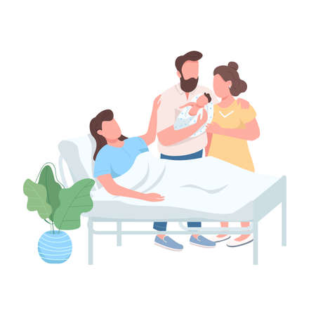 Surrogate mother flat color vector faceless character. Husband and wife with newborn baby. Woman give birth. Alternative childbirth isolated cartoon illustration for web graphic design and animation