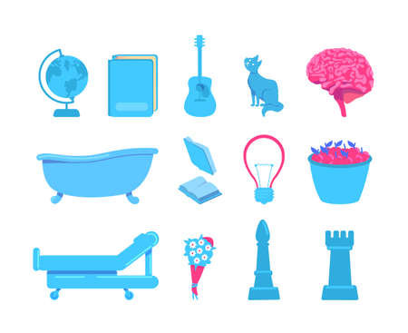 External stimuli of brain activity flat color vector object set. Sources of various sensations. Touch, vision, sound stimuli isolated cartoon illustration for web graphic design and animation pack Illustration