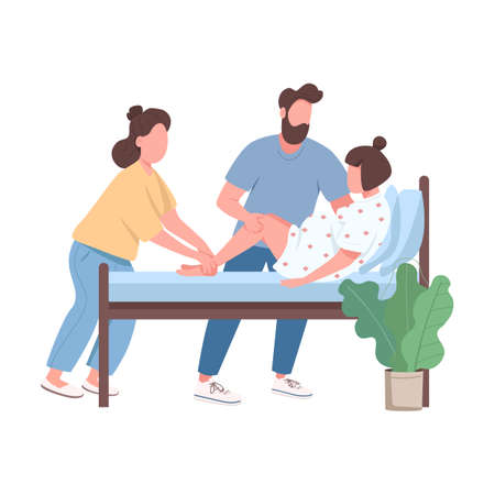 Woman deliver baby flat color vector faceless character. Doula professional aid. Husband coaching wife in childbirth isolated cartoon illustration for web graphic design and animation