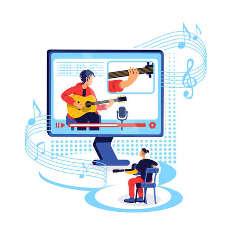 Online guitar tutorial flat concept vector illustration. Learn to play musical instrument with internet class. Guitarist 2D cartoon characters for web design. Music workshop creative idea