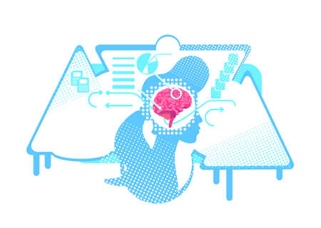 Memory flat concept vector illustration. Human information processing. 2D cartoon characters for web design. Brainstorming, observing, interpreting data and making decisions creative idea Ilustração