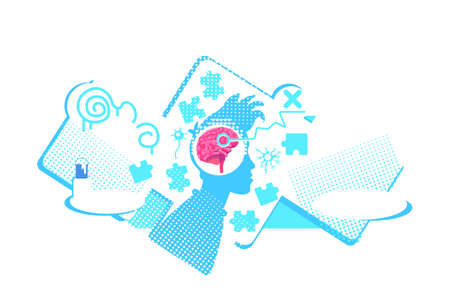 Brain dysfunction flat concept vector illustration. Mental disabilities. Broken neural connections. 2D cartoon characters for web design. Nervous diseases, mental disorders creative idea