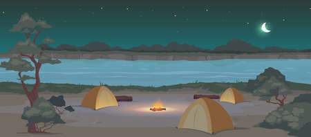 Campground at night flat color vector illustration. Recreation in nature. Summertime active leisure. Camping journey. Tents 2D cartoon landscape with river and woodland at midnight on background