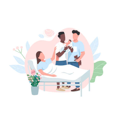 Surrogate mom with gay couple flat color vector faceless character. Baby adoption. LGBT parents with newborn. Alternative birth isolated cartoon illustration for web graphic design and animation