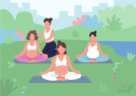 Yoga class outdoors flat color vector illustration. Meditation with coach in park. Prenatal training for relaxation. Pregnant women 2D cartoon characters with landscape on background