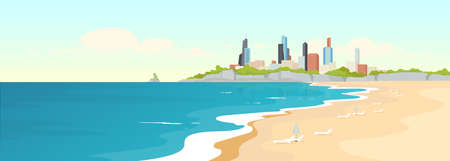 Sandy urban beach flat color vector illustration. Sea shore and modern buildings. Marine city view. Summertime recreation. Ocean coast 2D cartoon landscape with skyscrapers on background