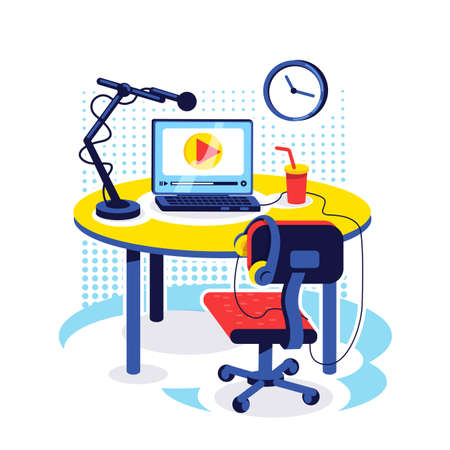 Streamer setup flat concept vector illustration. Desk with equipment to broadcast video. Content creator table. Vlogger workplace 2D cartoon object for web design. Blogger workspace creative idea