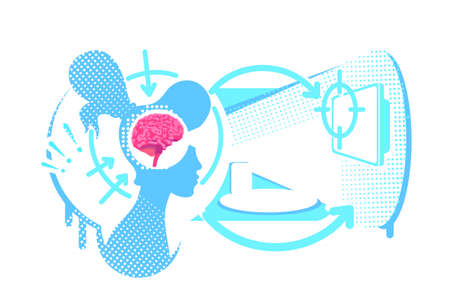 Hyperfocus flat concept vector illustration. Concentration on visual perception. 2D cartoon characters for web design. Influence of seen information on brain activity creative idea