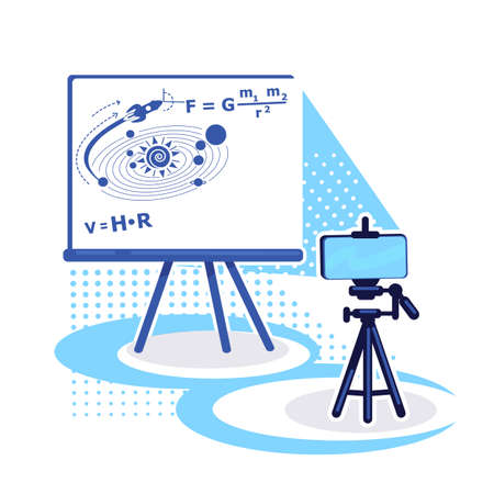 Streaming setup for e learning flat color vector object. Internet broadcast of astronomy lesson. Online class on physics isolated cartoon illustration for web graphic design and animation