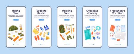Journey essentials onboarding mobile app screen flat vector template. Travel equipment. Walkthrough website steps with characters. UX, UI, GUI smartphone cartoon interface, case prints set