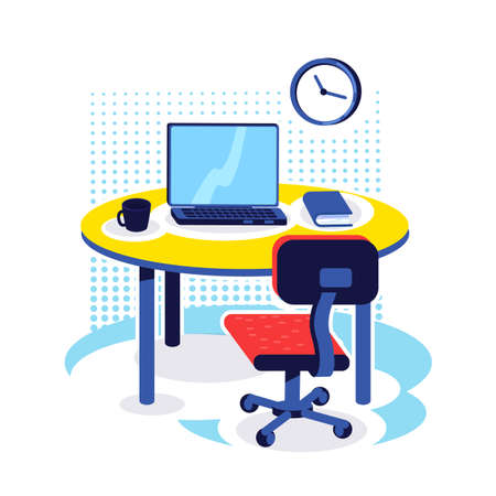 Office workplace flat color vector object. Desk with computer. Corporate job. PC monitor on table. Home work place. Workspace isolated cartoon illustration for web graphic design and animation