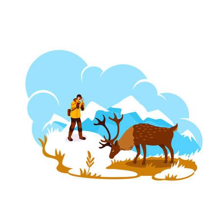 Photography in Alaska 2D vector web banner, poster. Deer on mountain peak. Wildlife photographer flat characters on cartoon background. Elk natural habitat printable patch, colorful web element Ilustração