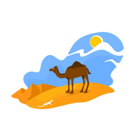 African desert 2D vector web banner, poster. Camel stand in sand. Egyptian wildlife. Climate zone. Arabian dunes flat scenery on cartoon background. Africa printable patch, colorful web element Ilustração