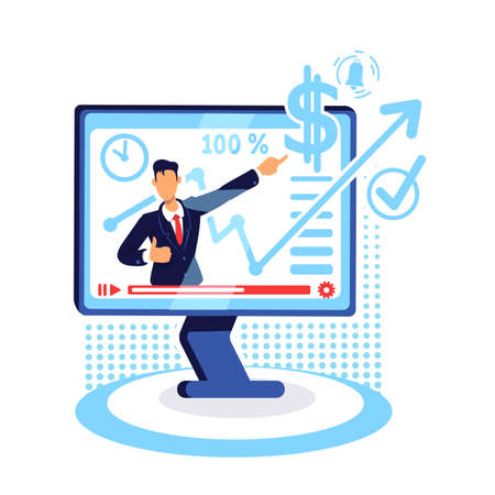 Online marketing tutorial flat concept vector illustration. Watch workshop on computer. Course on increasing income. Career coach 2D cartoon character for web design. Financial webinar creative idea Ilustrace