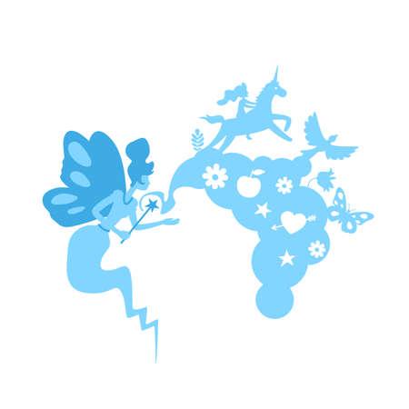 Fairy tale flat concept vector illustration. Fantasy storytelling. Magic world. Imagination of children novel. Fairytale 2D cartoon character for web design. Magical story creative idea