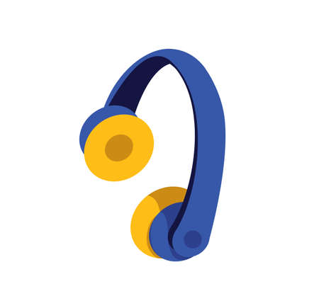 Headphones flat color vector object. Headset to listen to music. Operator of call center line. Wireless earphones. DJ equipment isolated cartoon illustration for web graphic design and animation