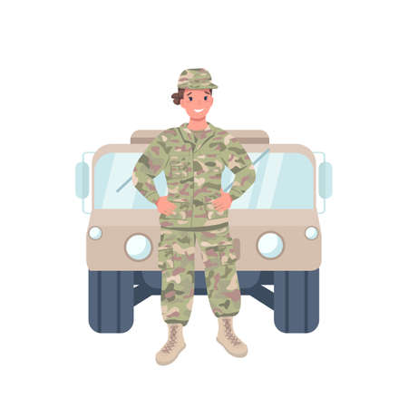 Woman soldier flat color vector detailed character. Cheerful female working in armed forces. Gender balance. Commander isolated cartoon illustration for web graphic design and animation