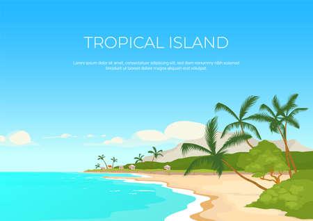 Tropical island banner flat vector template. Summertime rest. Sea resort. Exotic paradise. Brochure, booklet one page concept design with cartoon landscape. Exotic recreation horizontal flyer, leaflet Illusztráció