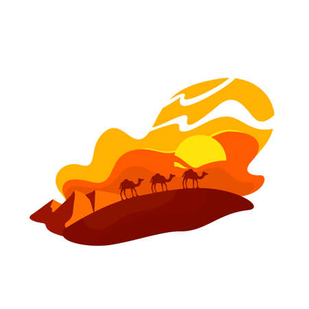 Camels walk in dunes 2D vector web banner, poster. Summer in Morocco. Sahara wildlife. Egyptian sands flat scenery on cartoon background. Arabian caravan printable patch, colorful web element