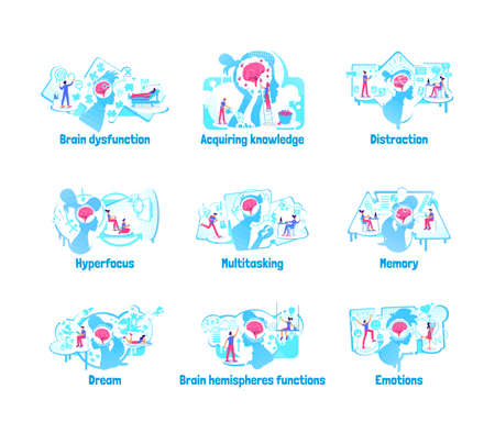 Mindset processes flat concept vector illustration set. Brain ability of process data and information. 2D cartoon characters for web design multitasking phrase mental skills creative idea collection
