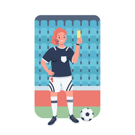 Woman football referee flat color vector detailed character. Gender equality at workplace. Female soccer refereer at stadium isolated cartoon illustration for web graphic design and animation
