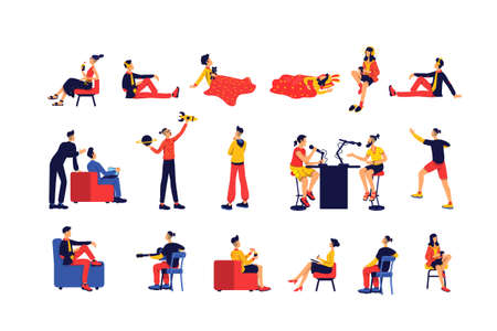 Leisure activity people flat color vector faceless character set. Entertainment and e learning. Pastime isolated cartoon illustration for web graphic design and animation collection