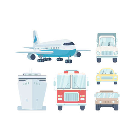 Vehicle types flat color vector objects set. Commercial vehicle. Air and water transport. Automobiles and aircraft. Isolated cartoon illustration for web graphic design and animation
