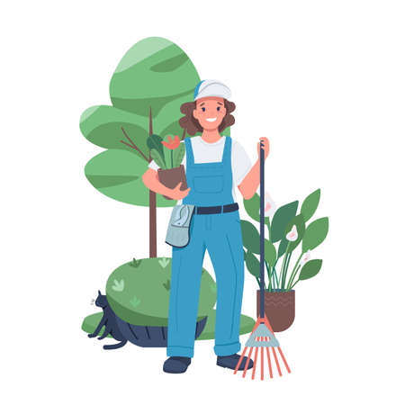 Woman landscaper flat color vector detailed character. Female working in a garden. Employed lady. Landscape designer isolated cartoon illustration for web graphic design and animation