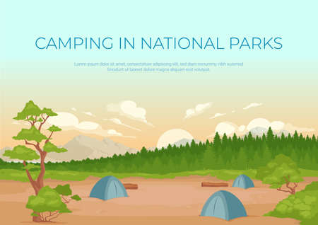 Camping in national parks banner flat vector template. Summer active recreation. Brochure, booklet one page concept design with cartoon landscape. Campsite location horizontal flyer, leaflet