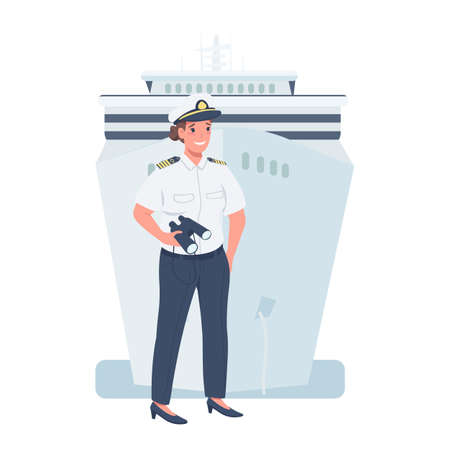 Woman ship captain flat color vector detailed character. Gender equality at workplace. Cheerful lady working as sailor isolated cartoon illustration for web graphic design and animation Stock Illustratie